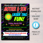 Laser Tag Event Flyer, Mother Son Date Night, Glow Dance, Family Activity Night Printable, Church School pto pta, INSTANT DOWNLOAD, Editable