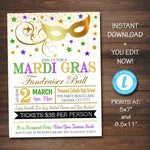EDITABLE Mardi Gras Invitation Flyer, Masquerade Ball Formal Invite, Catholic Church School Benefit, Auction Event Pto Pta INSTANT DOWNLOAD