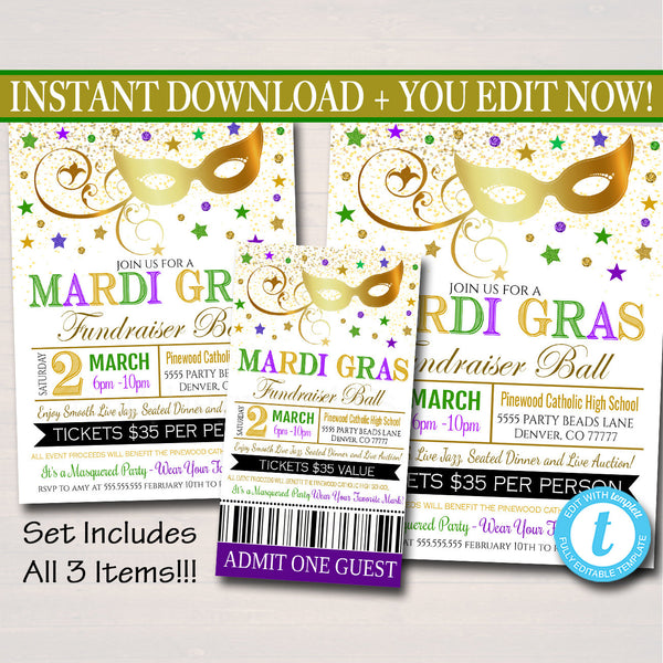 EDITABLE Mardi Gras Invitation Flyer, Masquerade Ball Formal Invite, Catholic Church School Ticket, Auction Event Pto Pta INSTANT DOWNLOAD