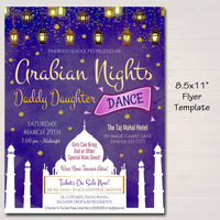 Arabian Nights Dance Flyer, Daddy Daughter Princess Theme, Moroccan Bollywood, India School pto pta, Church Dance Event, INSTANT DOWNLOAD