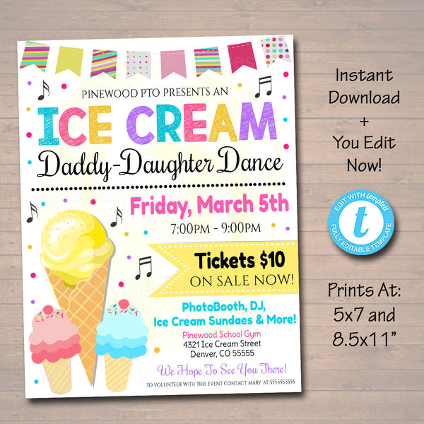 Daddy Daughter Ice Cream Themed Sweetheart Dance, School Pto Pta Church Dance Flyer Party Invite, Church Community Event, EDITABLE TEMPLATE