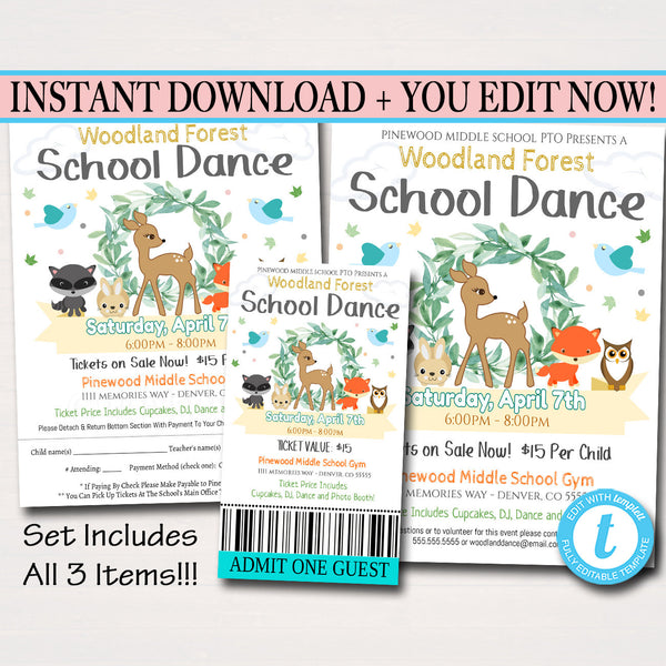 Woodland Enchanted Forest School Dance Set Daddy Daughter Dance Flyer Invite, Church Community Event Ticket, School pto pta INSTANT DOWNLOAD