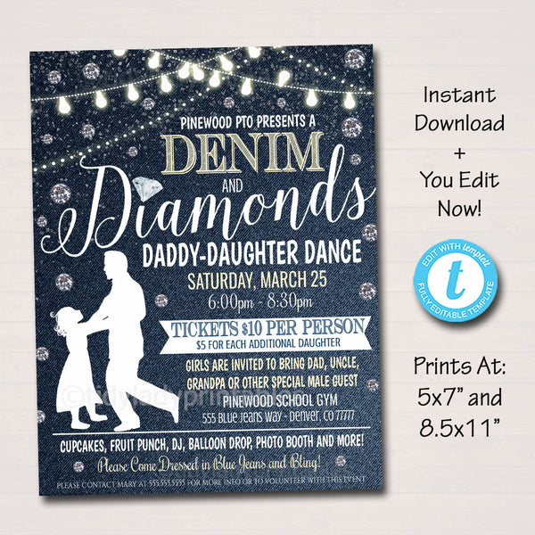 Daddy Daughter Dance, Denim and Diamonds Blue Jeans and Bling Theme, School Pto Pta, Church Fundraiser Flyer Invite Event EDITABLE TEMPLATE