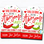 Valentine Gift Tags, You're Awesome Sauce Hot Salsa Valentine Gift, Chip Label School Teacher Staff Valentine Tag, DIY Editable Template