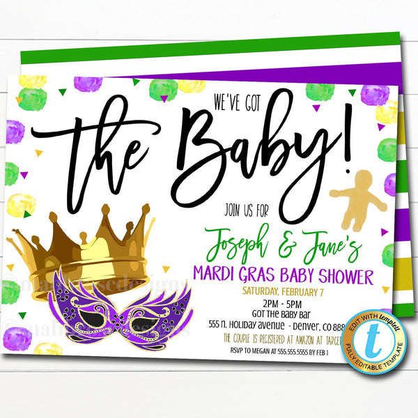 Mardi Gras Baby Shower Invitation, We've Got The Baby, Fat Tuesday King Cake Party Editable Template, New Orleans Sprinkle, DIY Self-Editing