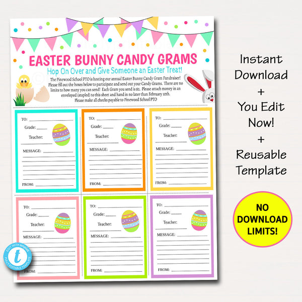 Easter Candy Gram Flyer, School Fundraiser Template, Easter Bunny Candy Church Community Event, School Pto Pta, Printable Editable Template