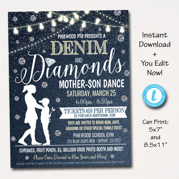 Mother Son Dance, Denim and Diamonds Blue Jeans and Bling Theme, School Pto Pta, Church Fundraiser Flyer Invite Event EDITABLE TEMPLATE