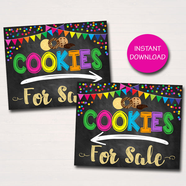 Cookie Arrow Signs, Cookies Sold Here, Printable Cookie Drop Banner, Cookie Booth Poster, Cookie Sale, INSTANT DOWNLOAD Fundraiser Booth