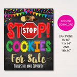 Cookie Booth Sign, Stop Cookies For Sale, Printable Cookie Drop Banner, Cookie Booth Poster, Cookie Sale, INSTANT DOWNLOAD Fundraiser Booth