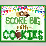 Football Cookie Booth Sign, Game Day Cookies Sold Here, Printable Banner, Cookie Booth Poster, Cookie Sale INSTANT DOWNLOAD Fundraiser Booth
