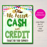 We Accept Payments Sign Cash and Credit, Fundraising Booth, Bake Sale, Cookie Booth Printable Scouts Cookie Banner, Cookie Booth Poster
