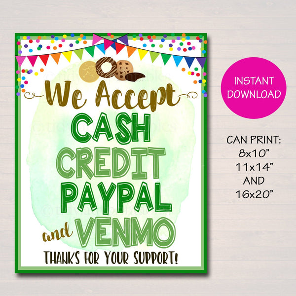 We Accept Payments Sign Cash, Credit Paypal Venmo, Fundraising Booth, Bake Sale, Cookie Booth Printable, Cookie Banner, Cookie Booth Poster