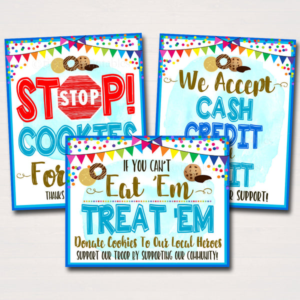 Cookie Booth Sign Set, Donate Cookies to Local Heroes Stop Cookies, Accept Cash Credit Card Printable Cookie Drop Banner INSTANT DOWNLOAD