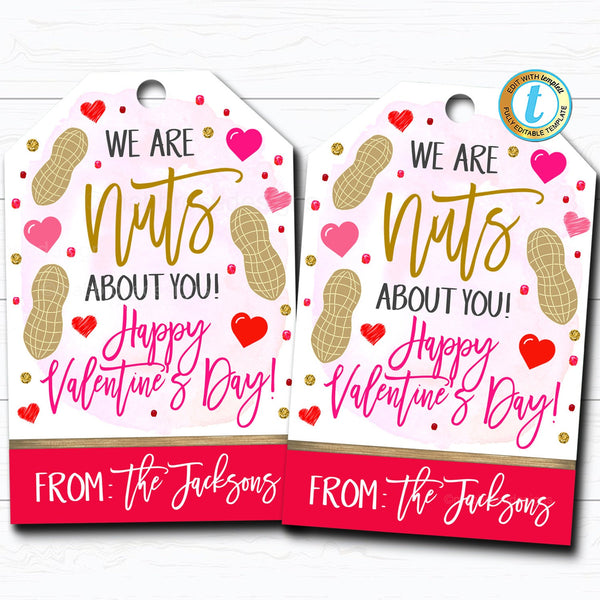 Valentine Nuts Tags, Nuts About You Valentine Appreciation Gift Tag, Classroom School Teacher Staff Valentine Label, DIY Editable Template