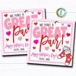 Valentine Sock Tags, We Make a Great Pair, Valentine Gift Tag Spouse Husband Wife Girlfriend Boyfriend Valentine Label DIY Editable Template