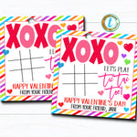 Valentine Tic Tac Toe Gift Tags, Game Candy Valentine Gift Classroom Party School Teacher Staff, Kids Valentine Label, DIY Editable Template