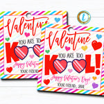 Valentine Too Kool Gift Tags, Fruit Punch Drink Straw Valentine Gift Classroom School Teacher Staff, Valentine Label, DIY Editable Template