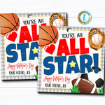All Star Sports Valentines, Boy Ball Valentine Card Gift Classroom Party School, Teacher Staff Valentine Tag DIY Printable Editable Template