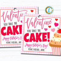 Valentines Cake Gift Tag, You Take the Cake! Teacher Staff Employee Appreciation Bakery Thank You Tag, School Pto Pta DIY Editable Template