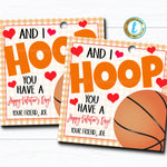 Basketball Valentines, Boy Sports Valentine Card Gift, Classroom Party School, Teacher Staff Valentine Tag, DIY Printable Editable Template