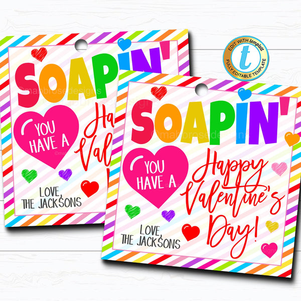 Valentine Soap Gift Tags, Happy Valentine's Day Tag, Hand Sanitizer Gift, Classroom School Teacher Staff Nurse Gift, DIY Editable Template