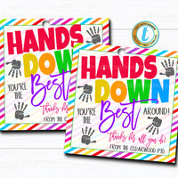 Soap Gift Tags, Hands Down You're the Best Around, Thank You Hand Sanitizer Gift Classroom School Teacher Staff Nurse, DIY Editable Template