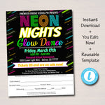 EDITABLE Glow Dance Set School Dance Take Home Sheet, Church Community Event, Neon Nights High School Dance, pto pta, INSTANT DOWNLOAD