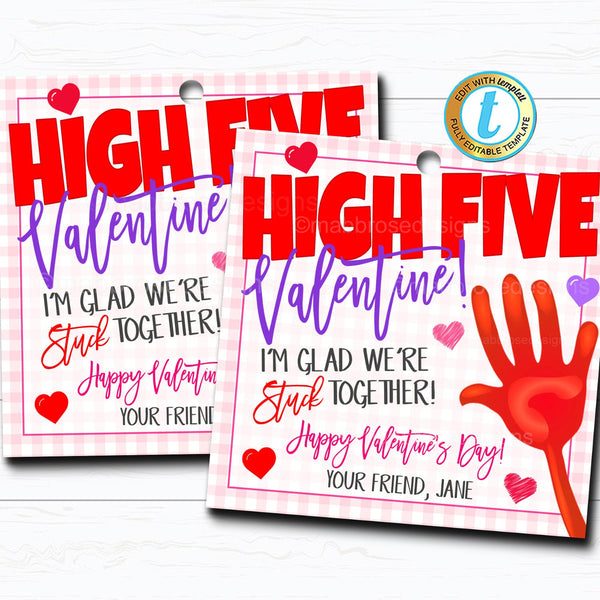 Valentine Gift Tags, High Five Valentine, Sticky Hands Stuck Together, Kids Friend Toy Gift Classroom School Teacher, DIY Editable Template