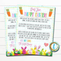 Letter From the Easter Bunny Template, Printable Kids Easter Morning Surprise Letter Basket Hunt, DIY Instant Download Editable Template