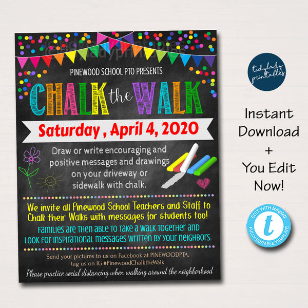 Chalk the Walk Flyer, HomeSchool Social Connection Event Idea, Elementary School Pto Pta, Kids positive kindness activity, Editable Template