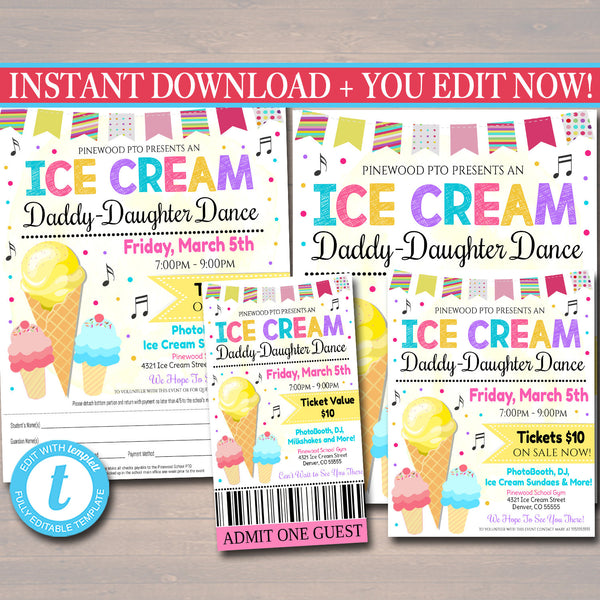 Daddy Daughter Ice Cream Themed Sweetheart Dance Set, School Pto Pta Dance Flyer Party Invite, Church Community Event, EDITABLE TEMPLATE