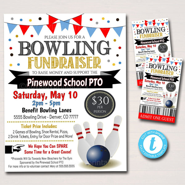 Bowling Fundraiser Flyer and Ticket Set, School PTA PTO Flyer, Church Nonprofit Benefit Fundraiser Event Invite, Printable Editable Template