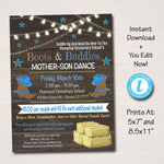 EDITABLE Mother Son Barn Dance Set School Dance Flyer Invitation, Western Boots & Buddies, Church Community Event, pto, pta INSTANT DOWNLOAD