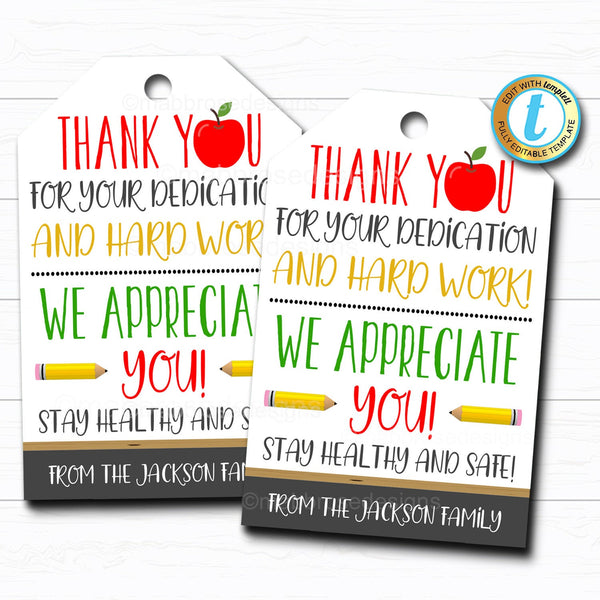 Teacher Appreciation Gift Tag, Thank You Gift Staff School Pto Pta, Long Distance Online Learning, Appreciation Week DIY Editable Template