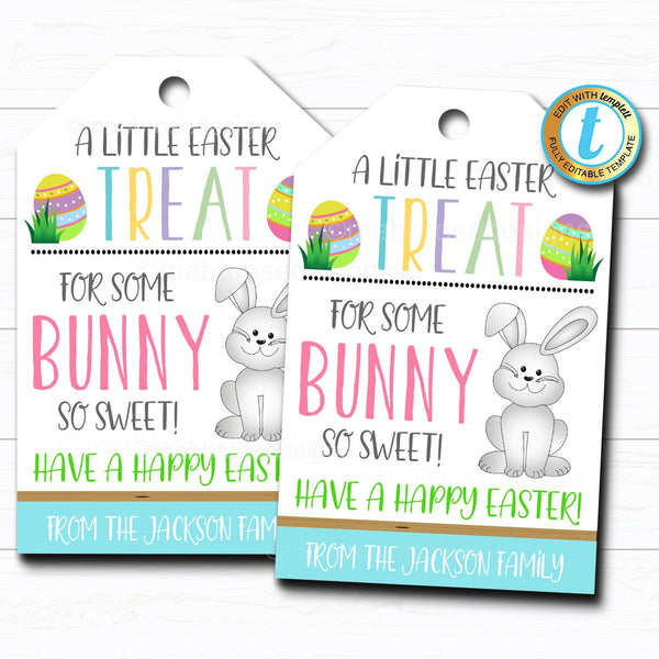 Easter Treat Tag Printable Candy Gift, A Treat for Some Bunny So Sweet Easter Basket Party Favor Tags DIY Instant Download Editable Template