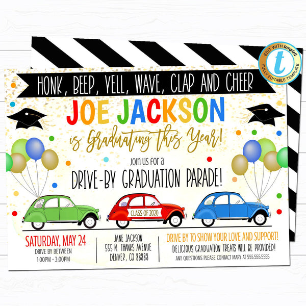 Drive By Graduation Parade Invitation, Virtual Boy Kindergarten Grad Party Invitation, Digital Preschool, INSTANT DOWNLOAD Editable Template