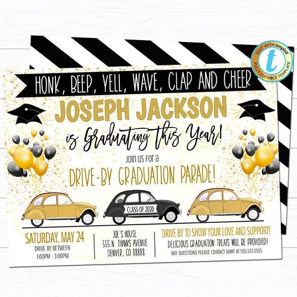 Drive By Graduation Parade Invitation, Virtual High School Senior Grad Party Invitation, Class of 2020, INSTANT DOWNLOAD Editable Template