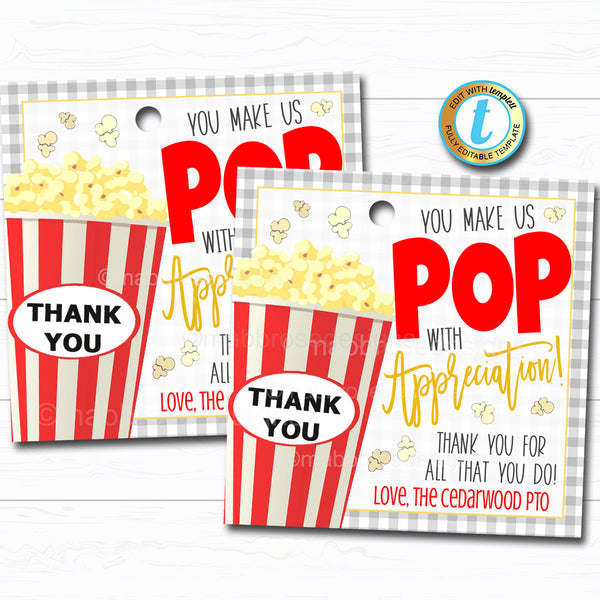 Popcorn Gift Tag, Volunteer Teacher Staff Employee School pto pta Appreciation Week Gift, Poppin By to Say Thank You, DIY Editable Template