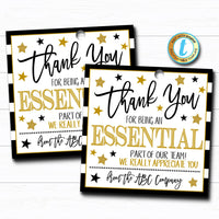 Employee Appreciation Gift Tag, Thank You Essential Worker Frontlines Star, Corporate Company Teacher School Staff,  DIY Editable Template