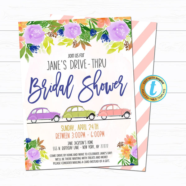 Drive By Bridal Shower Parade Invitation, Virtual Pregnancy Invitation Digital Mom To Be Party Invite INSTANT DOWNLOAD Editable Template