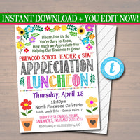Editable Teacher Appreciation Staff Invitation, Thank You Printable Appreciation Week Invite, Floral Flower Luncheon Invite INSTANT DOWNLOAD