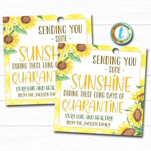 Quarantine Gift Tag, Box of Sunshine Sunflower Plant Gift, Neighbor Friend Coworker Staff Teacher Miss You Well Wishes, Editable Template