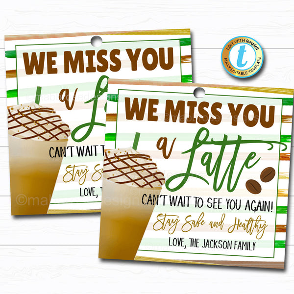 Miss You a Latte for all You Do Gift Tag, Teacher Staff Employee School Appreciation Week, Coffee Thank You Printable, DIY Editable Template