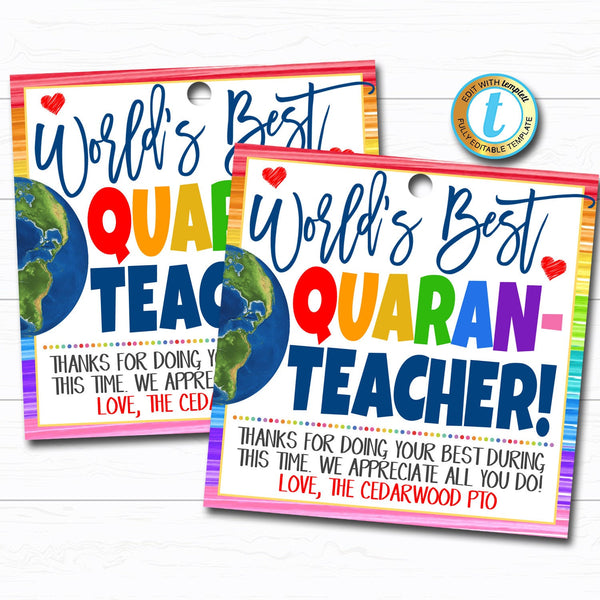 Virtual Teacher Appreciation Week Gift Tag, Thank You Staff School Pto Pta, Long Distance Online Learning, Quarantine DIY Editable Template
