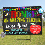 Virtual Teacher Appreciation Week Yard Sign, Outdoor Banner, Honk for Teachers School Pto Pta Thank You Ideas, PRINTABLE Editable Template