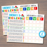 Printable Home School Schedule, Daily Subject Checklist, Homework Organizer, Kids Student Calendar Planner Printable, Editable Template