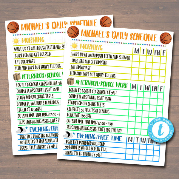 Printable Daily Schedule, Home School Subject Checklist, Homework Organizer, Kids Student Calendar Planner Printable, Editable Template