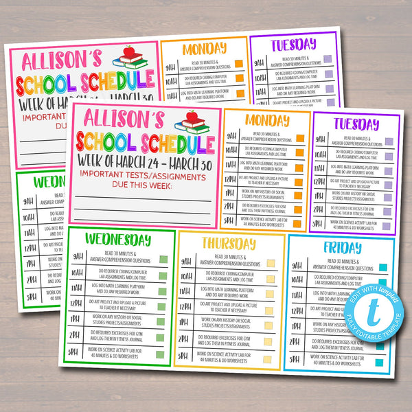 Printable Home School Schedule, Daily Weekly Subject Checklist, Homework Organizer Kids Student Calendar Planner Printable Editable Template