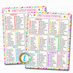 Printable Weekly Schedule, Home School Daily Subject Checklist, Homework Organizer Kids Student Calendar Planner Printable Editable Template