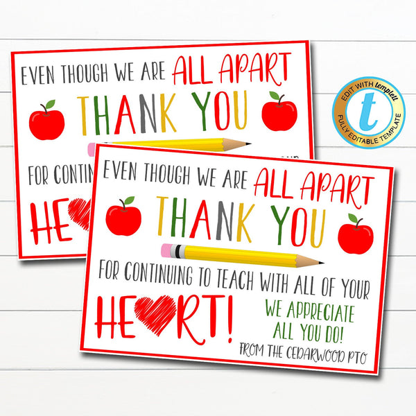 Virtual Teacher Appreciation Week Postcard, Thank You Gift School Pto Pta, Long Distance Online Learning, Quarantine, DIY Editable Template